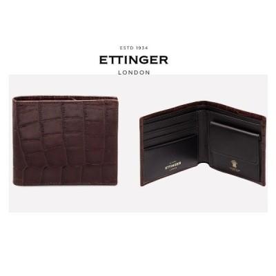 【 ETTINGER エッティンガー】 最新モデル Croco 二つ折り 財布 コインポケット付 レザー 皮革 クロコエンボス カウハイド イギリス製 CC141JR