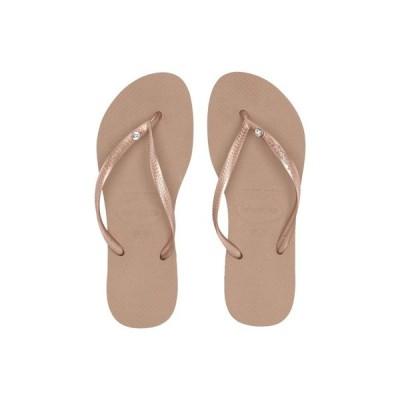 ハワイアナス Havaianas レディース ビーチサンダル シューズ・靴 Slim Crystal Glamour SW Flip Flops Rose Gold/Rose Gold Metallic