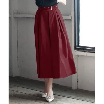 【ジュリアブティック】 ウエストベルト&ショートパンツ付きスリットロングスカート/20505 レディース ワイン M Julia Boutique