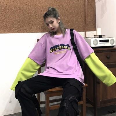 2019 新作 原宿系 ファッション ロゴ 重ね着風 配色 長袖 Tシャツ カラフル 派手 カワ な 服 個性的 ダンス 衣装 かわいい 奇抜 青文字系 レディース トップス