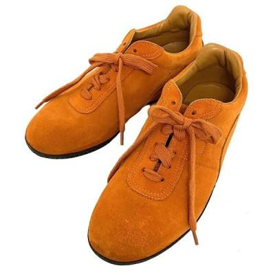 【送料無料】 エルメス スニーカー オレンジ 36 1/2 23.5cm スエード レザー 中古 HERMES ロゴ H シューズ