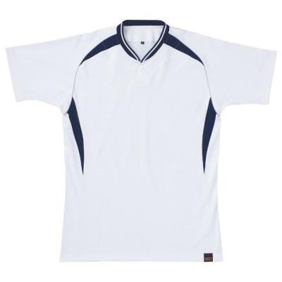 【送料290円】ゼット ベースボールシャツ BOT740 ホワイト×ネイビー ZETT BOT740A 1129