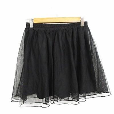 【中古】ジュニアスウィート junior sweet スカート ギャザー ミニ チュール F 黒 ブラック /AAM39 レディース