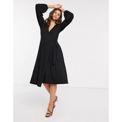 エイソス レディース ワンピース トップス ASOS DESIGN midi dress with wrap front in black