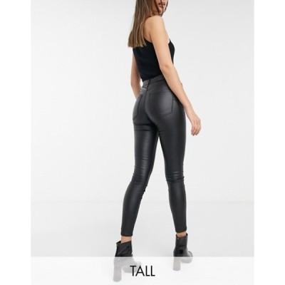 ストラディバリウス レディース デニムパンツ ボトムス Stradivarius Tall coated push-up skinny jean in coated black