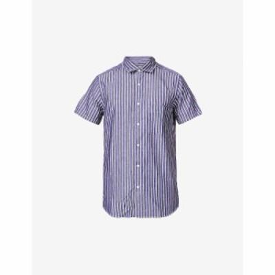フレスコボールカリオカ FRESCOBOL CARIOCA メンズ 半袖シャツ トップス Striped cotton-blend short-sleeved shirt BLUE/NAVY