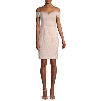 バッジェリーミシュカ ワンピース トップス レディース Badgley Mischka Off-the-Shoulder Brocade Sheath Dress pink multicolor