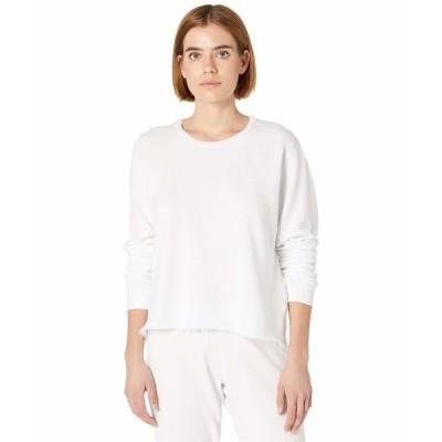 マイケルローレン パーカー・スウェットシャツ アウター レディース Travis Signature Soft French Terry Crop Pullover Sweatshirt White