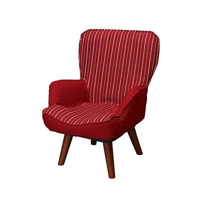 ドウシシャ 高座椅子 1人掛けソファー 座椅子 立ち座りラクラク 座面回転式 レッド LKR-RD
