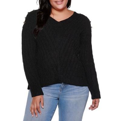 ベルディーニ レディース ニット・セーター アウター Black Label Plus Size V-Neck Rib Knit Sweater With Embellishment