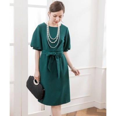 ドレス ふんわりバルーンスリーブ&ウエストリボン付きワンピース