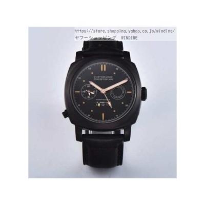 腕時計 メンズ 40代 50代 30代 おしゃれ カスタムメイドワンオブエディション パワーリザーブ シースルー ブラックケース パーニス マ