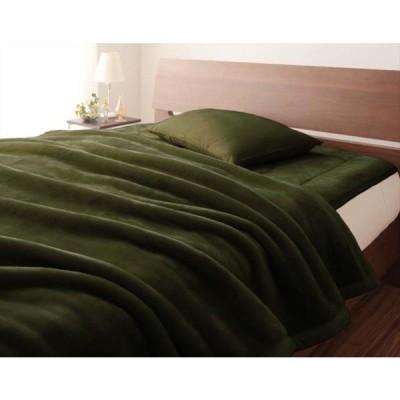 上質マイクロファイバー 厚い 毛布 の単品 セミダブルサイズ 色-ディープグリーン/発熱わた入り 洗える