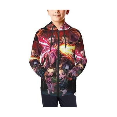 Demon Slayer Kimetsu No Yaiba Hoodie Teen Full Zip Youth Long Sleeve Pullover Sweatshirts Hooded Black