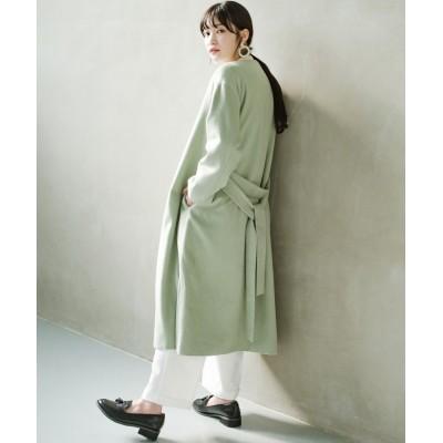 【ハコ】 冬の地味コーデ脱出! さっと羽織って女っぽいきれい色ガウンコート レディース ミント LL haco!