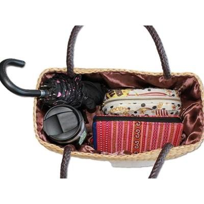 Siam ハンドメイド かごバッグ BOXタイプ 巾着 天然素材 編み 軽量 大人可愛い B-22