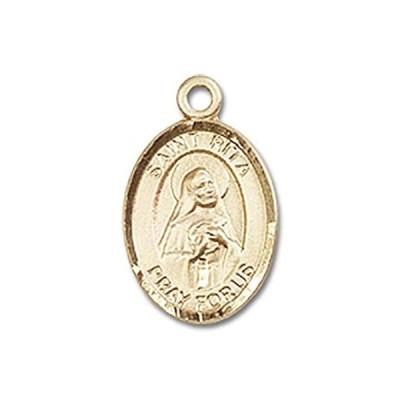 【新品】聖Rita of Cascia手作りオーバルメダルペンダント14KTイエローゴールド
