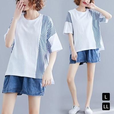 Tシャツ レディース 半袖 トップス シンプル 薄い ゆったり 丸首シャツ 人気 春夏 通勤 半袖シャツ 薄い ゆったり 復古 レトロ ゆったり