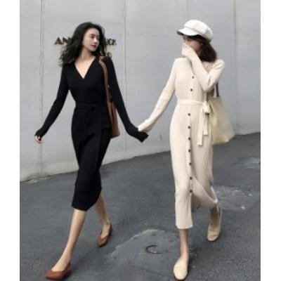 ロングニット ワンピース 長袖 黒 ブラック Vネック 大人 春物 夏物 最新 レディース ファッション 2020 人気 可愛い 大人