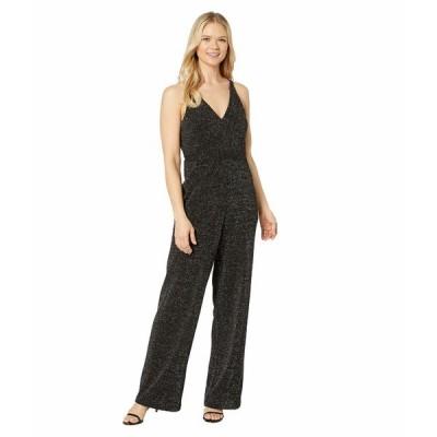 ドナモーガン ジャンプスーツ トップス レディース Metallic Stretch Knit Deep V-Neck Sleeveless Wide Leg Jumpsuit Silver/Black