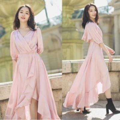 ロングドレス 結婚式 お呼ばれ ドレス パーティードレス フィッシュテール ワンピース 袖あり 五分袖 バルーン袖
