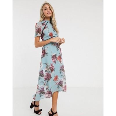 ホープアンドアイビー ミディドレス レディース Hope & Ivy midi dress with open back in grey floral エイソス ASOS マルチカラー
