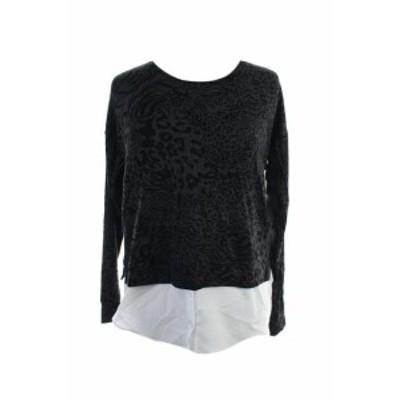 kensie ケンジー ファッション トップス Kensie New Charcoal Long-Sleeve Contrast-Hem Sweatshirt S