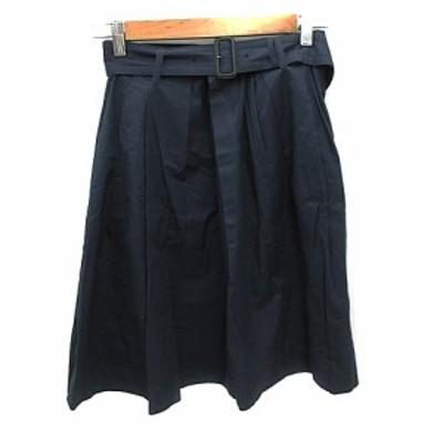【中古】マカフィー MACPHEE トゥモローランド スカート フレア ひざ丈 ベルト付き 36 紺 ネイビー /NS11 レディース