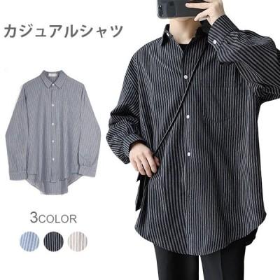カジュアルシャツ メンズ シャツ ストライプ柄 ストライプシャツ 柄シャツ シャツアウター ライトアウター ゆったり ゆるシャツ トップス カジュアル 秋新作