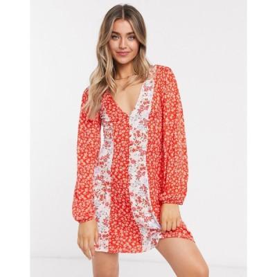 エイソス ミニドレス レディース ASOS DESIGN mini tea dress in half and half contrast floral print in red エイソス ASOS レッド 赤