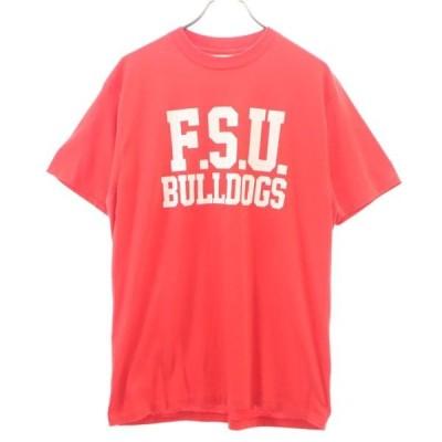 ヘインズ 80〜90s USA製 ブルドッグプリント 半袖 Tシャツ XL 赤 Hanes メンズ 古着 200423 メール便可