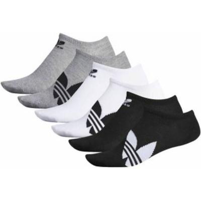 アディダス メンズ 靴下 アンダーウェア adidas Originals Men's Trefoil Superlite No Show Socks - 6 Pack Black/White/Grey
