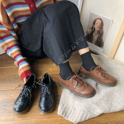 カジュアルシューズ レディース 紐靴 おじ靴 3ホール おしゃれ ポストマンシューズ オックスフォードシューズ マニッシュシューズ 黒 女性用 クリアソール 靴