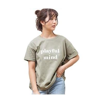 [アドティエ] ロゴプリントTシャツ Tシャツ カットソー トップス 半袖 レディース ロゴ カジュアル コットン(ミント Free Size)
