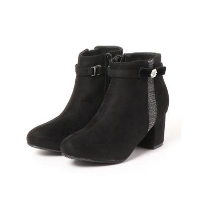 Mafmof / Realta(レアルタ) ビジュー付きベロアリボン切り替え ショートブーツ WOMEN シューズ > ブーツ