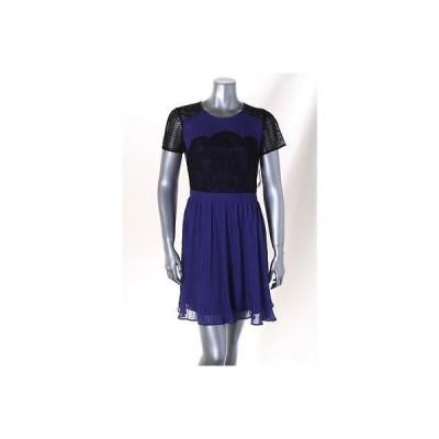 メイド/アパレル インク ドレス ワンピース フォーマル Made ブルー ブラック Lace 半袖 Pleated ドレス サイズ M 89LAFO