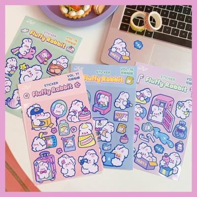 4種類セット milkjoy Fluffy Rabbit sticker フラッフィーラビットステッカー うさぎ柄シール 韓国