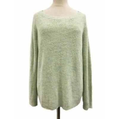【中古】クイーンズコート ニット セーター プルオーバー ラウンドネック 長袖 2 緑 グリーン レディース