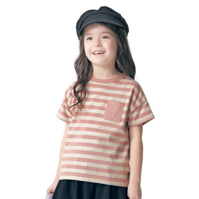 シンプルおしゃれな胸ポケットボーダー半袖Tシャツ【男の子 女の子 子供服】(ジータ/GITA basic)