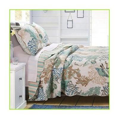 GH Beach Theme Ocean Coastal Quilt Twin/Twin XL Bedding Set - Nautical Seashell Beach Tropical Decor - All Season 2 Pieces Bedspread/Coverle