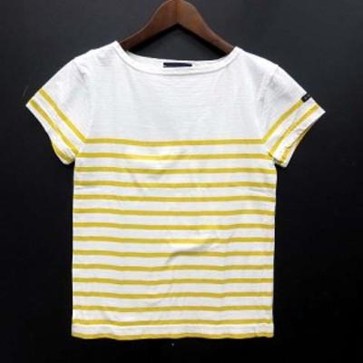 【中古】ルミノア Le Minor ボーダー バスク Tシャツ カットソー コットン 半袖 ボートネック イエロー 黄 1 フランス製 レディース
