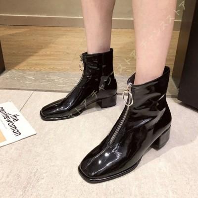 ショートブーツ ブーティー 太ヒール ブーツ 美脚 レディース 歩きやすい 軽い ローヒール 黒 フロントジッパー ブーツ ショート ブーツ チャンキーヒール