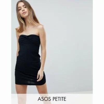 エイソス ワンピース ASOS PETITE Mini Twist Front Bandeau Dress Black