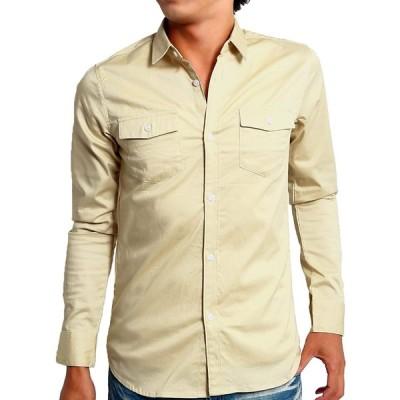 インプローブス シャツ ストレッチ ツイル スリムシャツ メンズ ベージュ XL サイズ