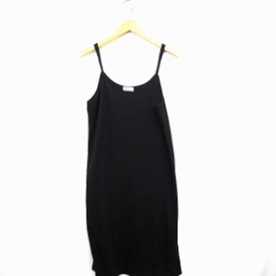 【中古】Alma Design ワンピース 無地 シンプル Vネック ロング丈 袖なし ノースリーブ M ブラック 黒 /MT レディース
