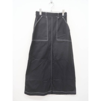 GRL(グレイル)カラーステッチロングスカート 黒 レディース Aランク M