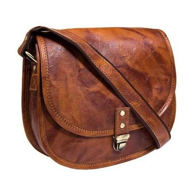 レザーバッグハンドバッグの女性または女の子、ハンドメイドクロスボディサッチェルトートバッグ、タンブラウンPurse for College Offic