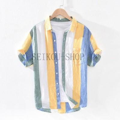 シャツ メンズ 半袖 ストライプ 麻100% リネンシャツ 夏服 メンズトップス カジュアルシャツ 麻シャツ