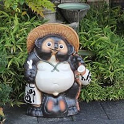 たぬき 置物 名入れ 25号福ひねり狸縁起物の 信楽焼 おしゃれ 和風 陶器 【手作り】
