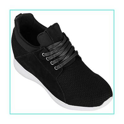 【新品】CALTO Men's Invisible Height Increasing Elevator Trainer Shoes - Black Mesh Lace-up Lightweight Fashion Sneakers - 3.2 Inches Taller - H71
